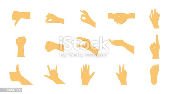Set of human hands. Various hand gestures. Vector illustration
