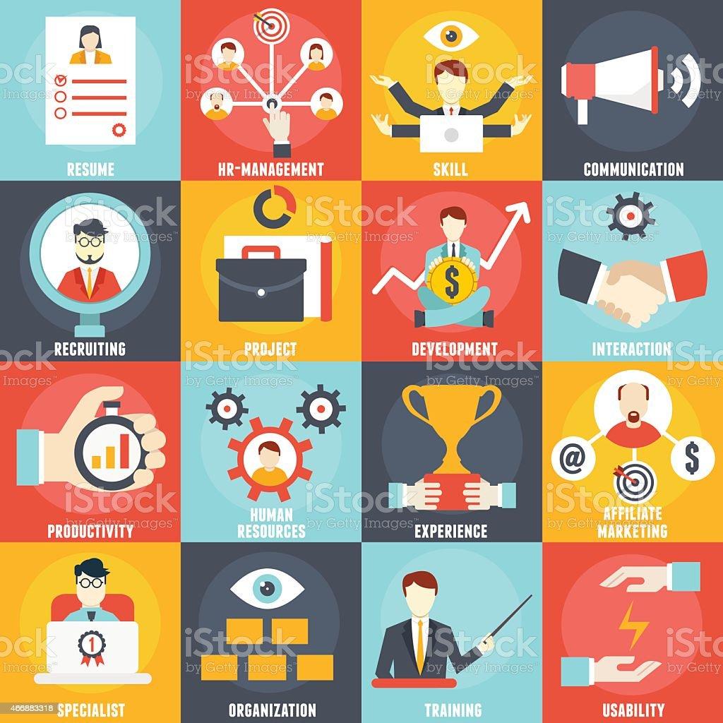 Set of Human Resources Management icons vector art illustration