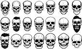 白い背景の上の人間の頭蓋骨のイラストのセットです。ラベル、エンブレム、サイン、ポスターのデザイン要素です。