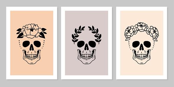 Set of human skulls with flower, laurel wreath. Beautiful collection of human skull portrait.