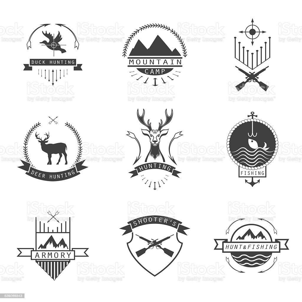 Conjunto de caça, acampar, pescar, armory e fotógrafo está logo, em - ilustração de arte em vetor