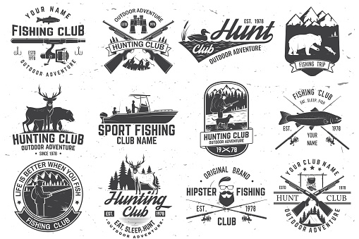 Set of hunting club and fishing club badges. Vector. Concept for shirt, stamp, tee. Design with hunting gun, bear, turkey , deer, camping tent, fish rod, bear. Outdoor adventure club emblem