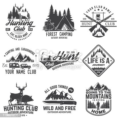 Set of hunting club and hiking club badge. Vector. Concept for shirt or logo, print, stamp. Vintage design with rv trailer, camping tent, boar, deer and forest silhouette