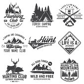 Set of hunting club and hiking club badge. Vector. Concept for shirt, logo, print, stamp. Vintage design with rv trailer, camping tent, boar, deer and forest silhouette