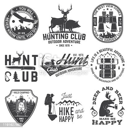 Set of hunting club and outdoor adventure quotes. Vector. Concept for shirt or logo, print, stamp or tee. Vintage design with backpack, binoculars, mountains, deer, tent, lantern and forest silhouette