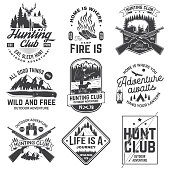 Set of hunting club and outdoor adventure quotes. Vector. Concept for shirt or logo, print, stamp or tee. Vintage design with hanter, hunting gun, mountains, bear, deer, tent and forest silhouette