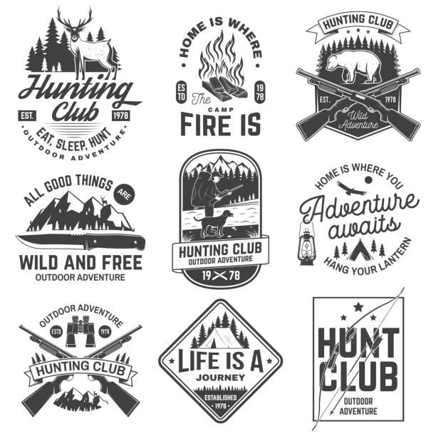stockillustraties, clipart, cartoons en iconen met set van jachtclub en outdoor avontuur citaten. vector. concept voor shirt of logo, afdrukken, stempel, tee. vintage design met hanter, jachtgeweer, bergen, bear, herten, tent en bos silhouet - wildplassen