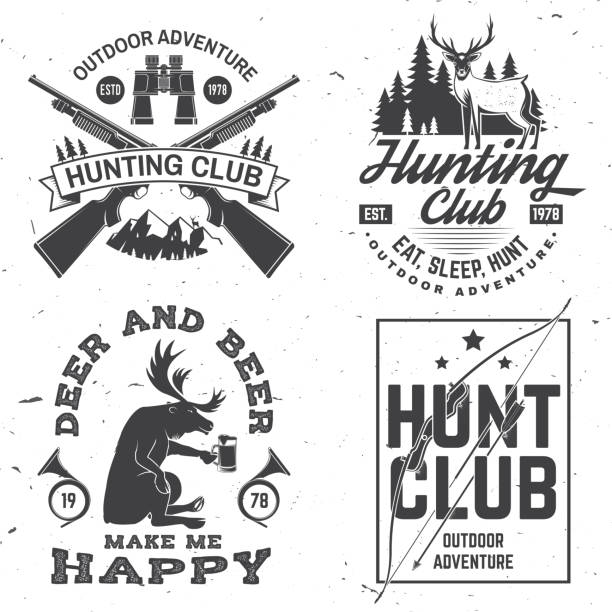 stockillustraties, clipart, cartoons en iconen met set van jachtclub badge. vector. concept voor shirt, label, print, stempel. vintage typografie ontwerp met jachtgeweer, verrekijker, bergen en bos silhouet. outdoor avontuur hunt club embleem - roofdieren