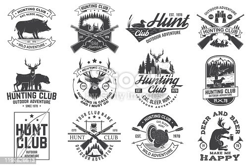 Set of Hunting club badge. Vector Concept for shirt, label, print, stamp. Vintage typography design with hunting gun, boar, hunter, bear, deer, mountains and forest. Outdoor adventure hunt club emblem
