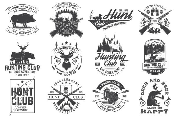 Set of Hunting club badge. Vector Concept for shirt, print, stamp. Vintage typography design with hunting gun, boar, hunter, bear, deer, mountains and forest. Outdoor adventure hunt club emblem Set of Hunting club badge. Vector Concept for shirt, label, print, stamp. Vintage typography design with hunting gun, boar, hunter, bear, deer, mountains and forest. Outdoor adventure hunt club emblem red deer animal stock illustrations