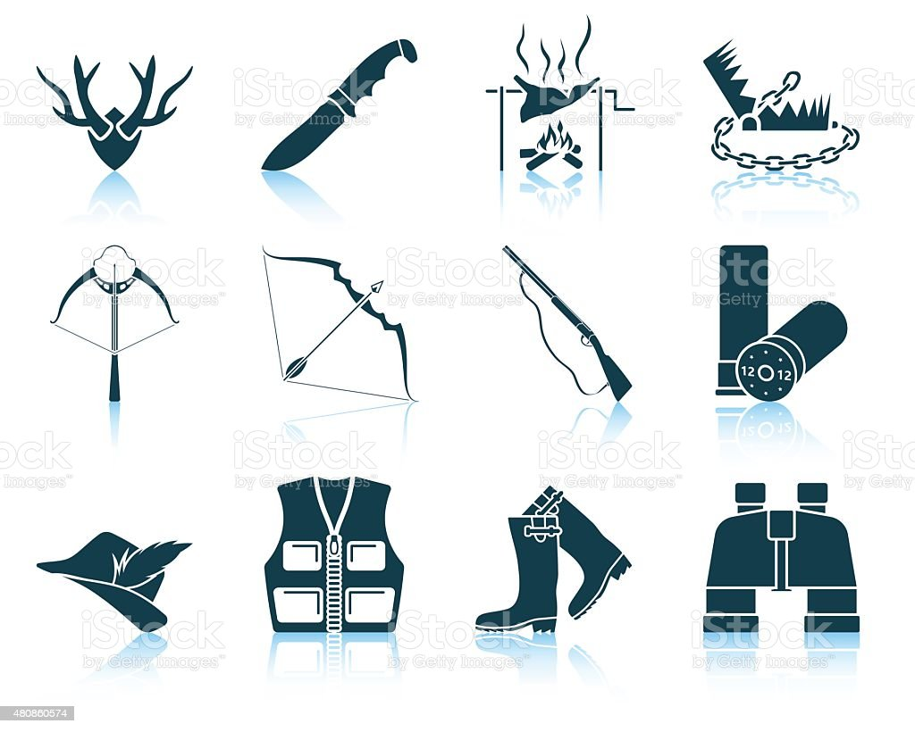 Set of hunting icons vector art illustration