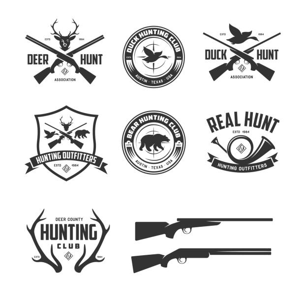 stockillustraties, clipart, cartoons en iconen met set verwante labels jacht badges emblemen. vintage vectorillustratie. - gun shooting