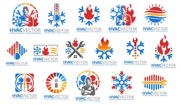 ilustrações, clipart, desenhos animados e ícones de um jogo do projeto do símbolo de hvac, da ventilação de aquecimento e do condicionamento de ar, coleção do modelo do molde do ícone do hvac. - ar condicionado