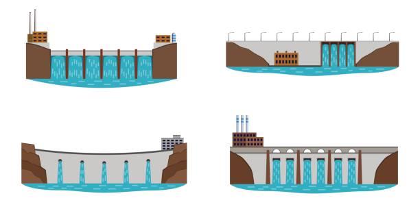 수력 발전소의 집합입니다. - 댐 stock illustrations