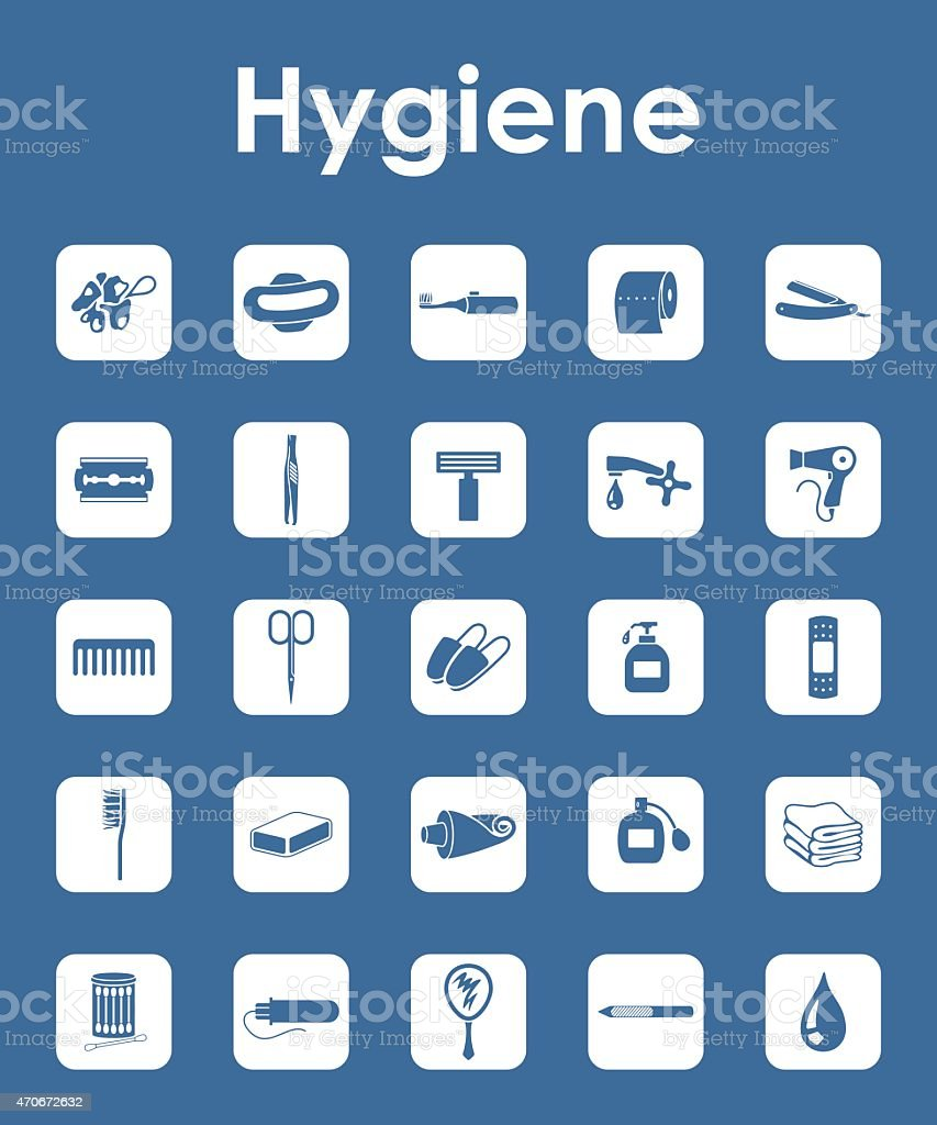 Set of hygiene simple icons vector art illustration