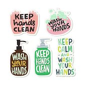 Set of flat style illustrations and inscriptions for prevention of COVID-19. Hygiene promotion stickers. Wash your hands, keep hand clean phrases for social media, blog, poster, card, news.