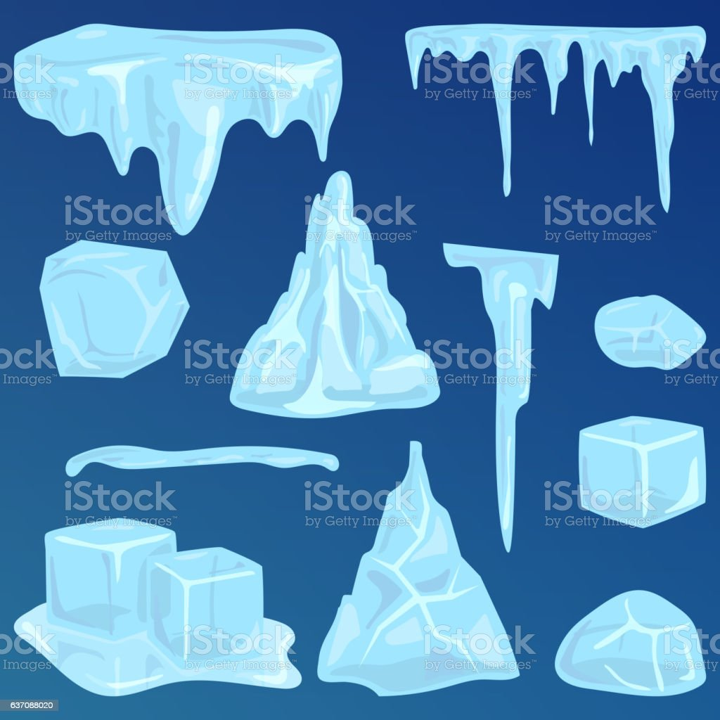 Set of ice caps snowdrifts and icicles elements winter decor vector art illustration
