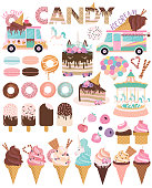 Set of ice cream and cakes for party decoration. Editable vector illustration