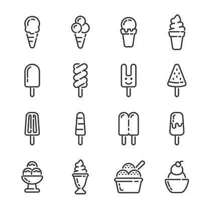 Set of ice cream and popsicle outline icons. Vector illustration.
