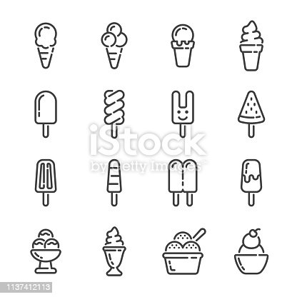 Set of ice cream and popsicle outline icons on white background. Vector illustration.