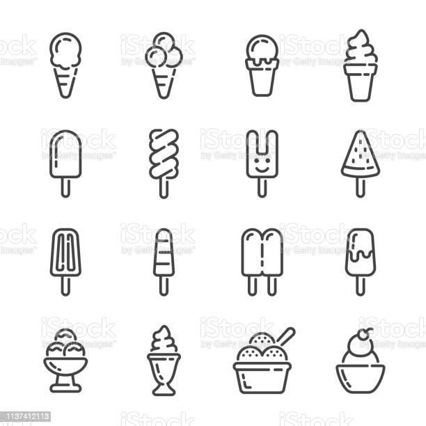 Set Of Ice Cream And Popsicle Outline Icons Vector Illustration - Arte vetorial de stock e mais imagens de Batido - Modo de Preparação de Comida