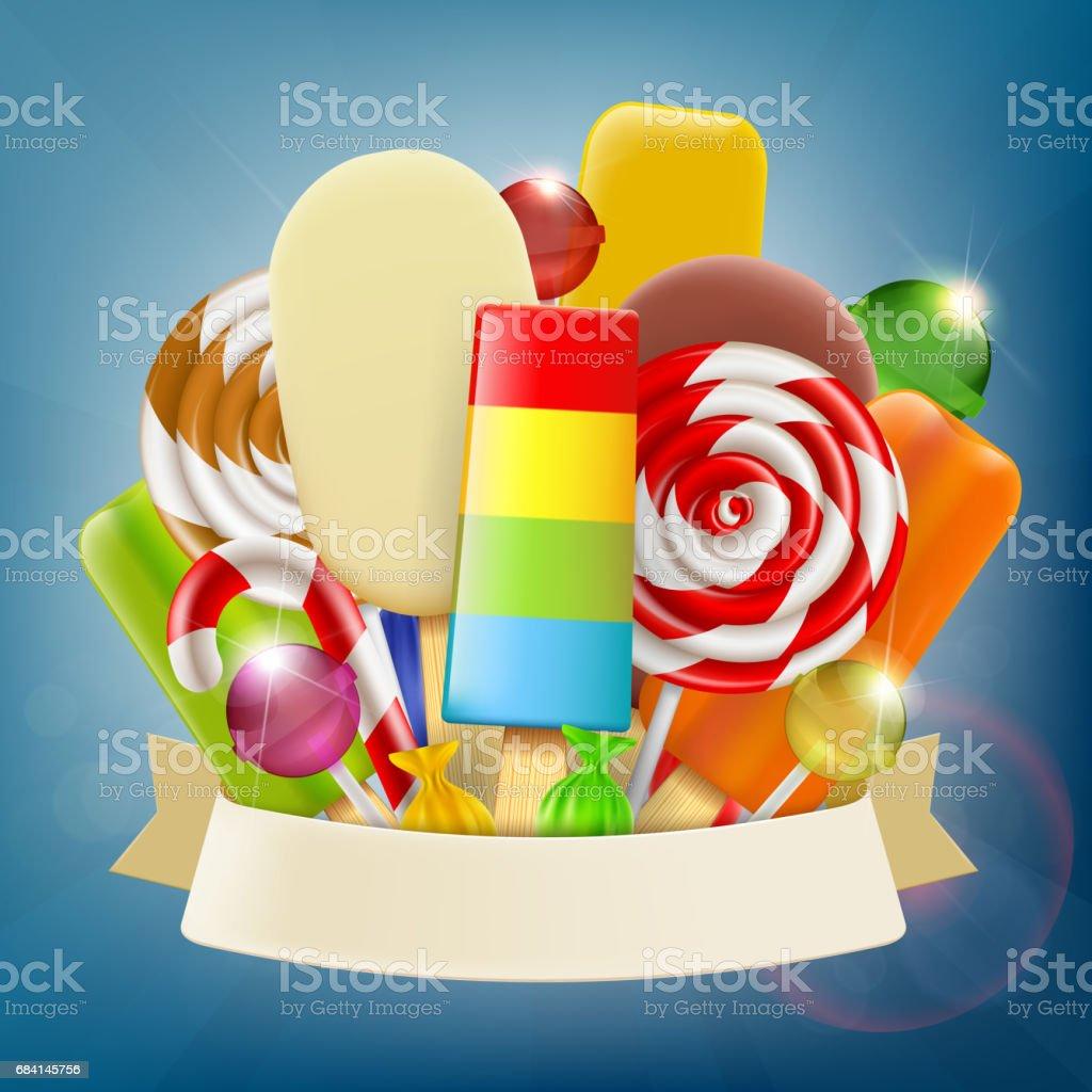 Set of ice cream, candy and sweets with ribbon set of ice cream candy and sweets with ribbon - immagini vettoriali stock e altre immagini di arte royalty-free