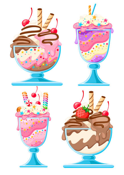 Set of Ice cream dessert in a glass bowls. Fruit sweet dessert with wafer straws, berries, chocolate. Flat vector illustration isolated on white background Set of Ice cream dessert in a glass bowls. Fruit sweet dessert with wafer straws, berries, chocolate. Flat vector illustration isolated on white background. bowl of ice cream stock illustrations