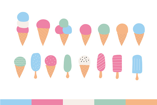 Set of ice cream elements in a cone. Sweet summer delicacy with different tastes,collection isolated popsicle with different topping. Vector illustration for web,design, print.