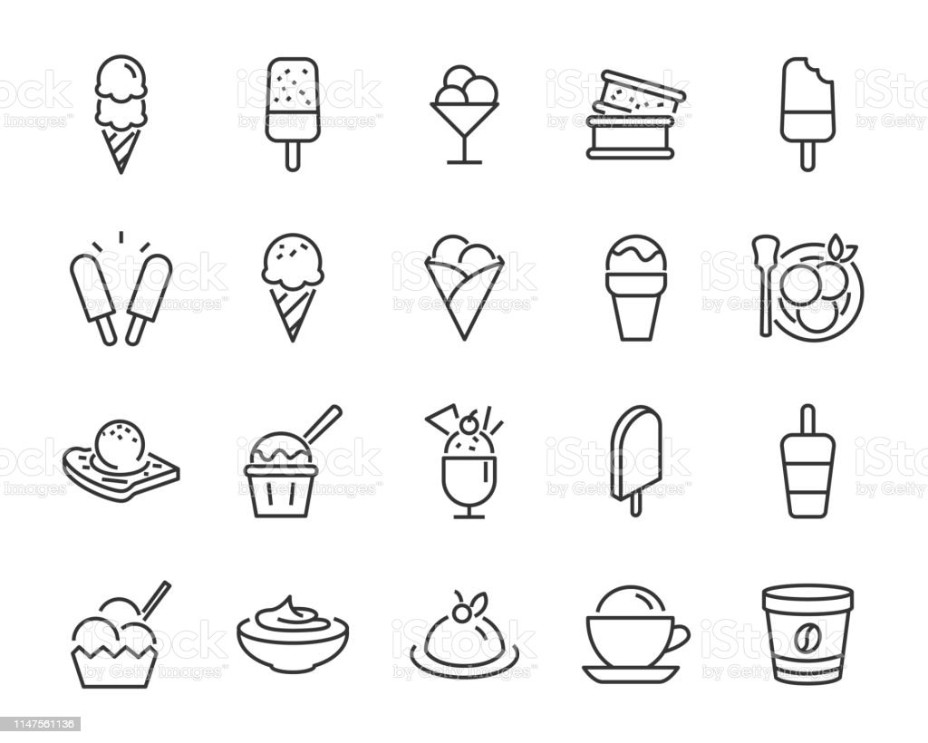 set of ice cream icons, such as  parfait, frozen yogurt, ice cream sundae, vanilla, chocolate - Royalty-free Banana - Fruto tropical arte vetorial