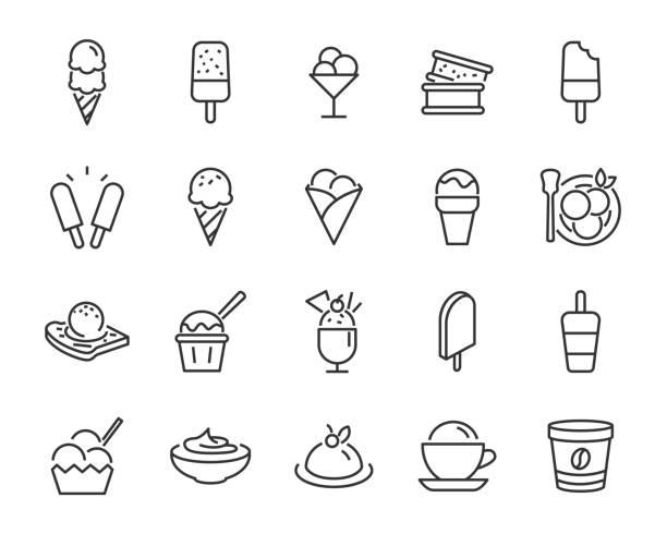 아이스크림 아이콘, 파 르 페, 냉동 요 거 트, 아이스크림 순 대, 바닐라, 초콜렛 등의 세트 - ice cream stock illustrations