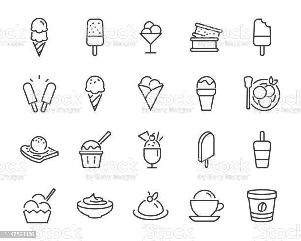 Set Of Ice Cream Icons Such As Parfait Frozen Yogurt Ice Cream Sundae Vanilla Chocolate - Arte vetorial de stock e mais imagens de Banana - Fruto tropical