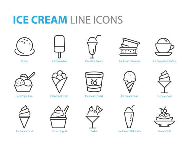 stockillustraties, clipart, cartoons en iconen met set van ice cream iconen, zoals de, bevroren yoghurt, ijs sundae, vanille, chocolade - bevroren voedsel
