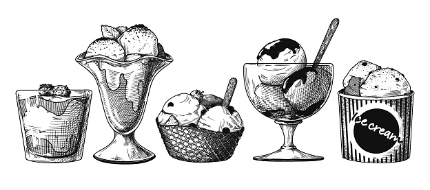 Set of ice cream in different bowls. Vector illustration in sketch style.
