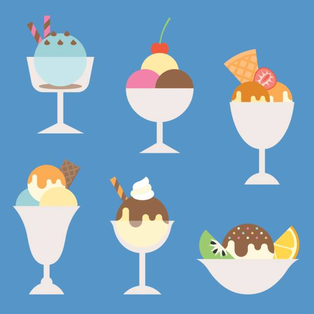 set of ice cream in glass and cup with topping illustration set of ice cream in glass and cup with topping illustration, such as sundae, parfait, flat icon vector ice cream sundae stock illustrations