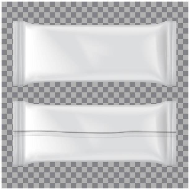 illustrazioni stock, clip art, cartoni animati e icone di tendenza di set of ice cream package mockup, vector white blank plastic pouch snack pack - gelato confezionato