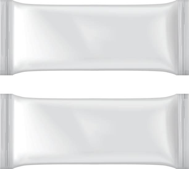 illustrazioni stock, clip art, cartoni animati e icone di tendenza di set of ice cream package mock-up, white blank plastic pouch snack pack - gelato confezionato