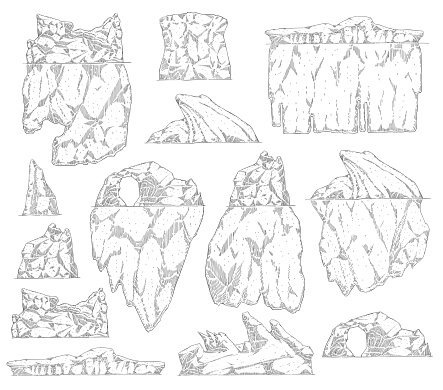 Set of iceberg different shapes sketch outline style