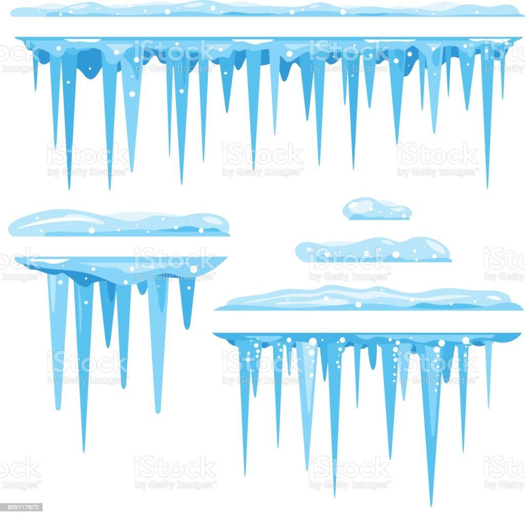Set of Icicles Cluster vector art illustration