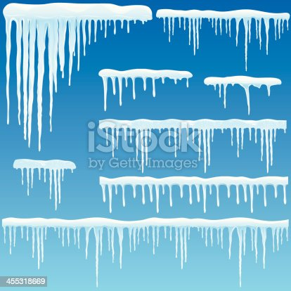 Vector illustration of icicles with snow. The three long lower right icicle elements with straight borders can be strung together manually with itself to become seamless. If you need some assistance, just sitemail me.