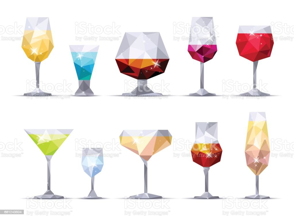 Set of icon alcoholic glasses. Triangle style vector art illustration