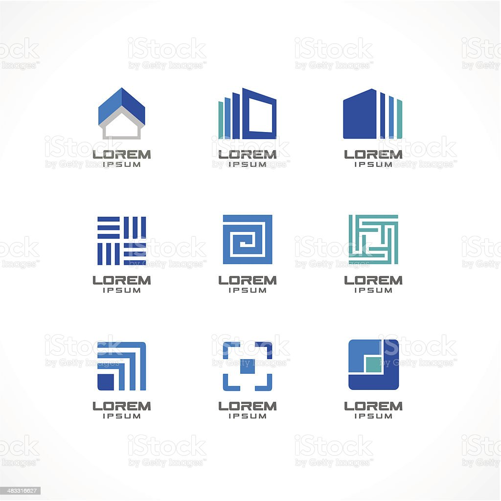 Set of icon design elements abstract logo ideas for for Societe construction immobiliere