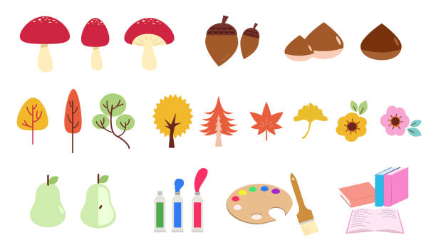 A set of icon illustrations with the image of autumn vector art illustration