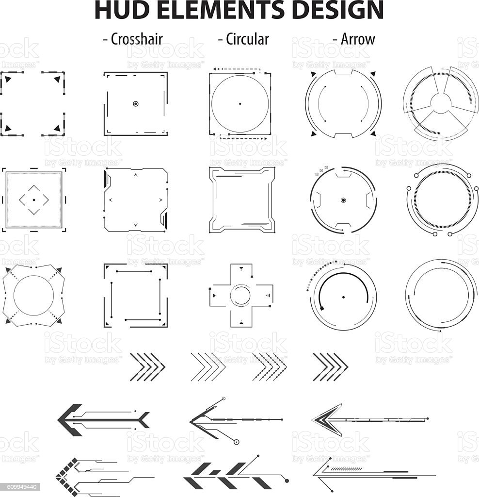 set of icon technology hud elements design isolated vector art illustration