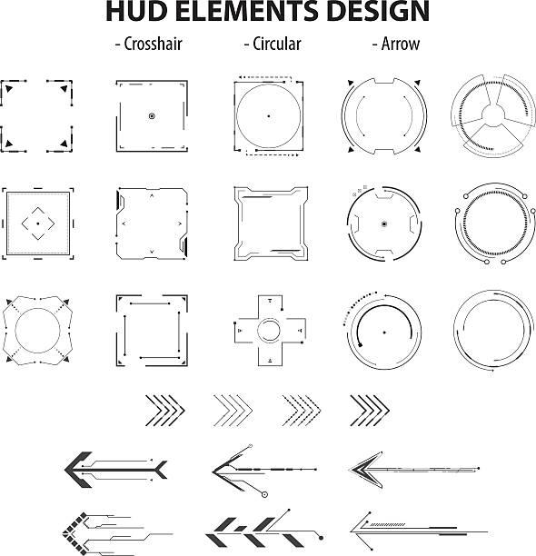 set of icon technology hud elements design isolated – Vektorgrafik