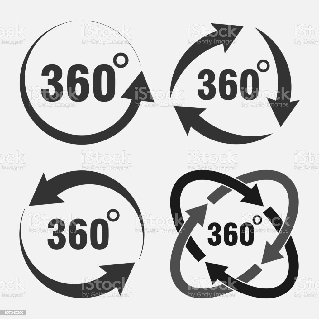 set of icons 360 degree rotation degree of rotation angle indicator