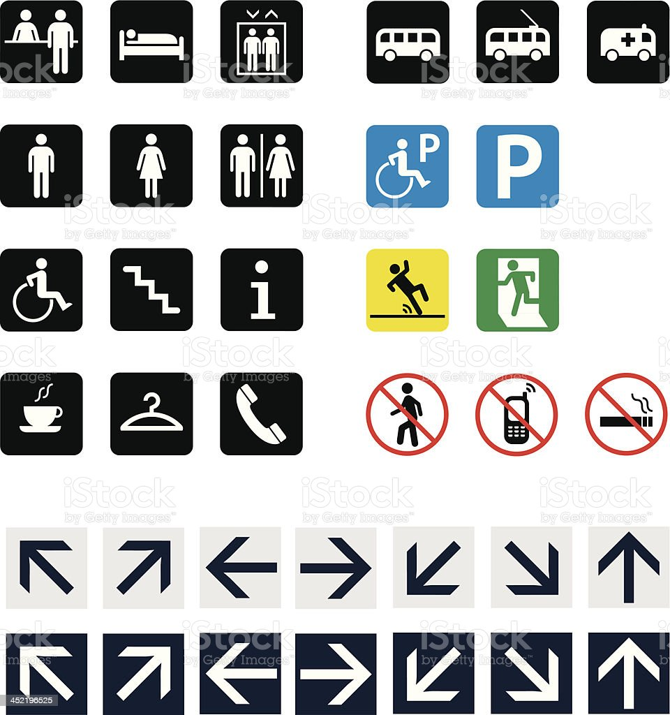 Set of icons and pictograms vector art illustration
