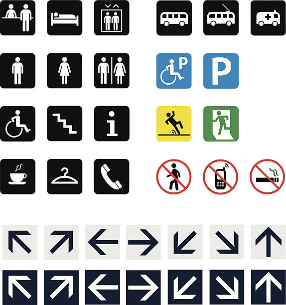 set of icons and pictograms - wayfinding icons stock illustrations, clip art, cartoons, & icons