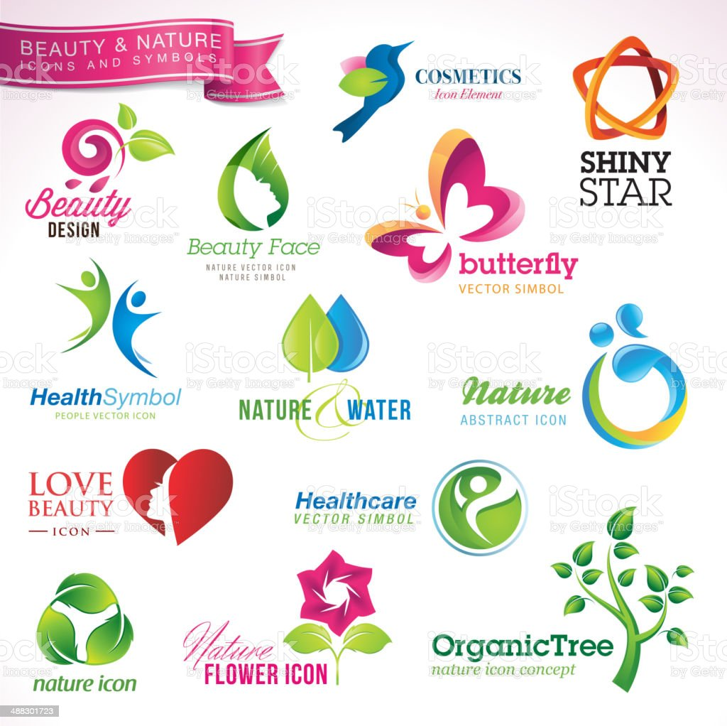 Set Of Icons And Symbols For Beauty And Nature Stock Vector Art