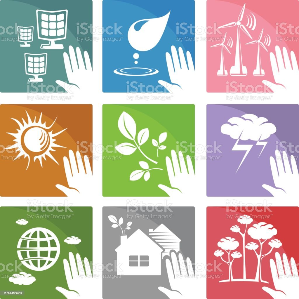 Set Of Icons And Symbols Of Alternative And Clean Sources Of Energy