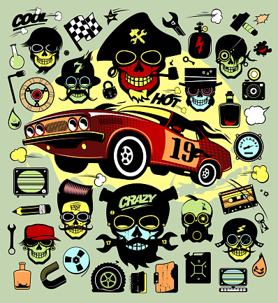 Set of icons and symbols with race car and hipsers